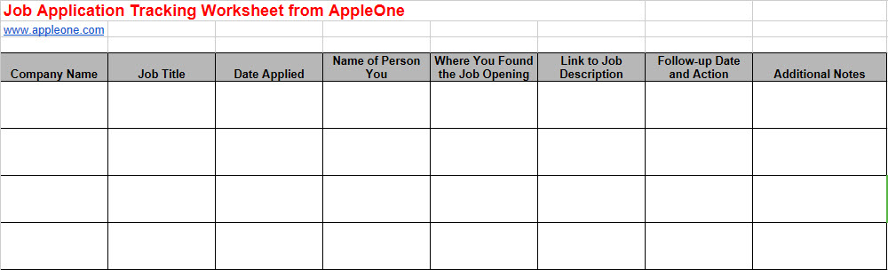 job search tracking spreadsheet