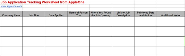 Stay On Track By Documenting Your Job Search AppleOne Blog – Job Search Worksheet